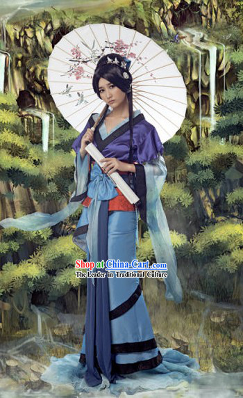 Ancient Chinese Swordswoman Wang Yuyan Costumes and Umbrella Set