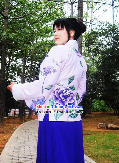 Hand Painted Ming Dynasty Cultural Exercise Hanfu Attire Complete Set for Women