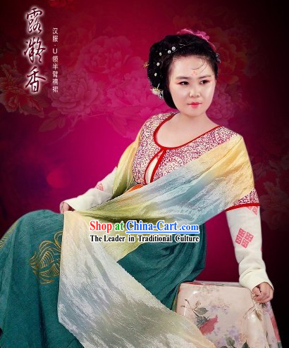 Chinese Classical Tang Dynasty Clothing Complete Set for Women