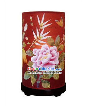 Traditional Chinese Hand Painted Silk Desk Lamp