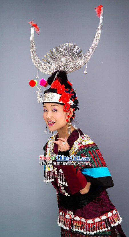 Chinese Ayouduo Miao Clothes and Hat Complete Set