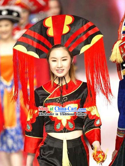 Chinese Minority Ethnic Clothing Stage Performance Costumes Set