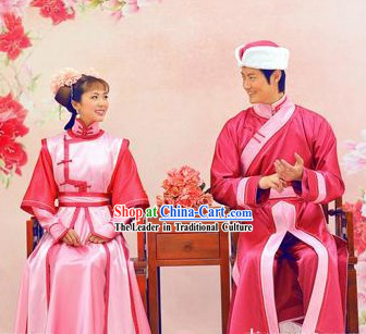 Chinese Wedding Dress and Hat Two Sets for Men and Women