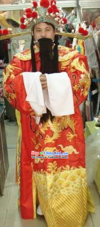Chinese Ancient Celebration Cai Shen _God of Wealth_ Costumes and Beard and Hat Complete Set