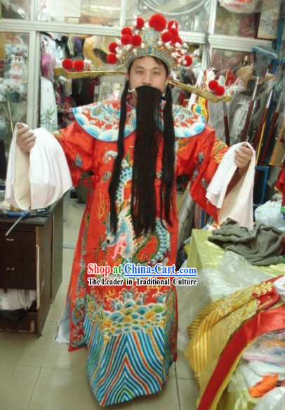Traditional Chinese Cai Shen Parade Costume Complete Set