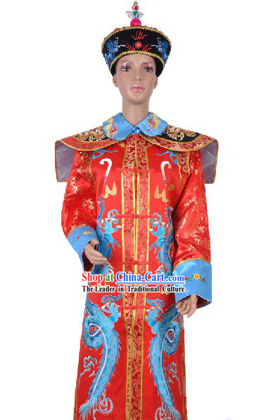 Chinese Qing Dynasty Empress Costumes and Hat Set