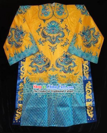 Chinese Gorgeous Ancient Embroidery Dragon Silk Robe for Men