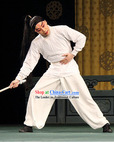 Chinese Opera Wusheng White Costumes Full Set