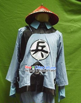 Ancient Chinese Solider Costumes and Hat for Men