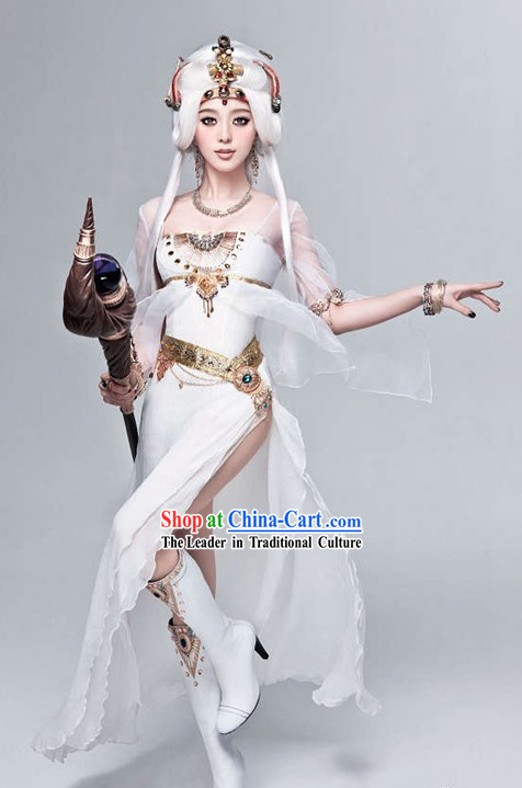 Ancient Chinese Goddness Clothes and Hair Decoration Full Set