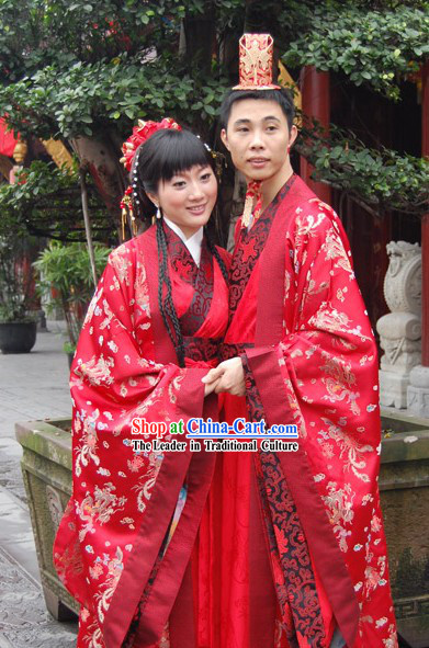 Genuine Chinese Wedding Hanfu Two Sets for Bride and Groom