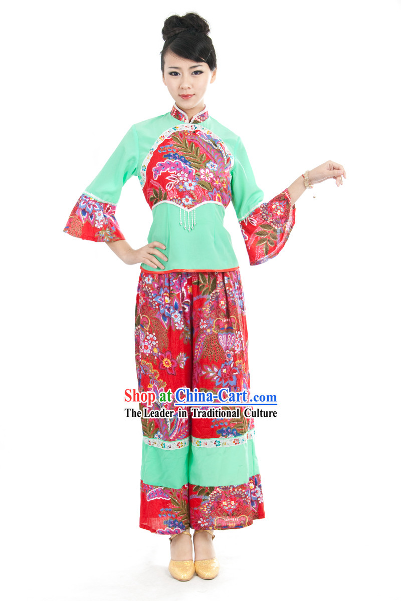 Chinese Yangge Folk Dance Costume for Women