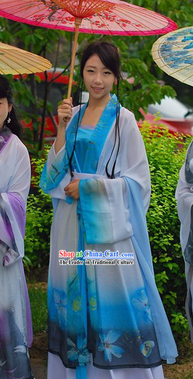 Ancient Chinese Beauty Blue Han Fu Clothing