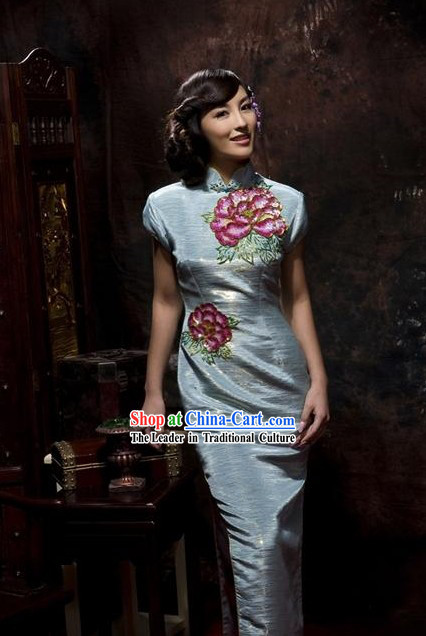 Traditional Chinese Embroidered Long Qipao Cheongsam