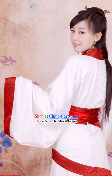 Chinese Han White Brocade Women Quju