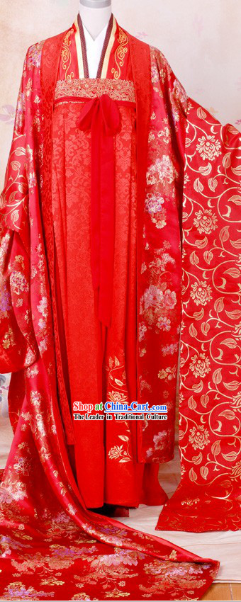 Ancient Chinese High Waist Wedding Dress Complete Set for Brides