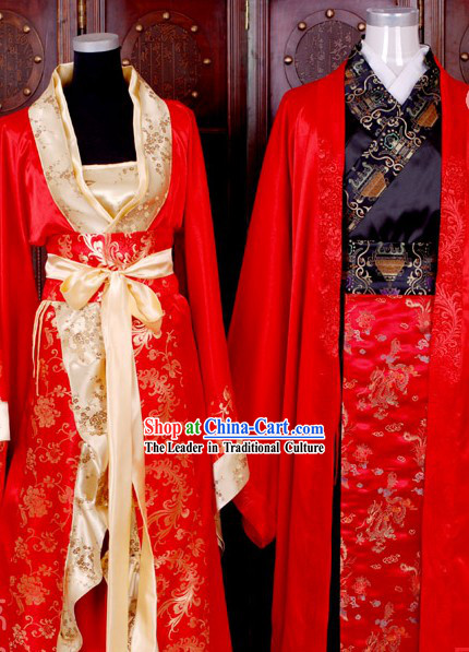 Ancient Chinese Wedding Costumes 2 Sets for Men and Wmen
