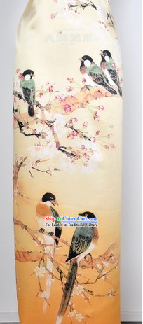 Chinese Bird and Flower 100_ Silk Fabric