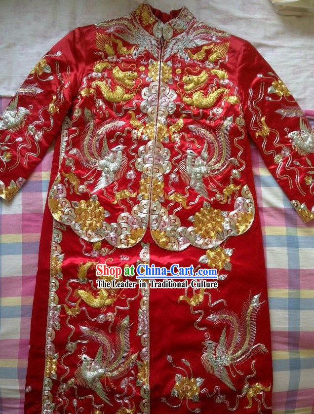 Traditional Chinese Wedding Dragon and Phoenix Bride Dress Suit
