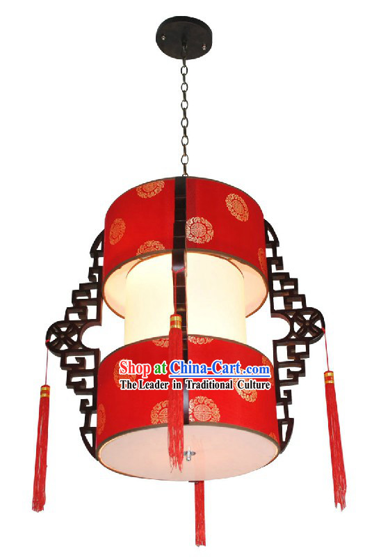 Two Layers Wooden Traditional Chinese Lantern Set