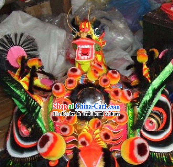 Chinese Classic Handmade Dragon Head Lion Dance Costumes Complete Set