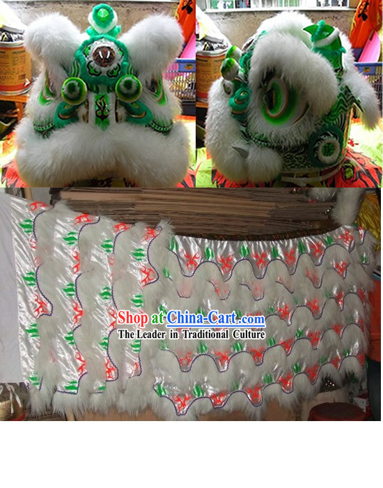 Supreme Green Base Luminous Fluorescent Lion Dance Costume Complete Set