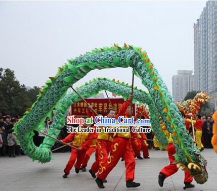 18 Meters Long Beijing Green Dragon Dance Costume for Sale