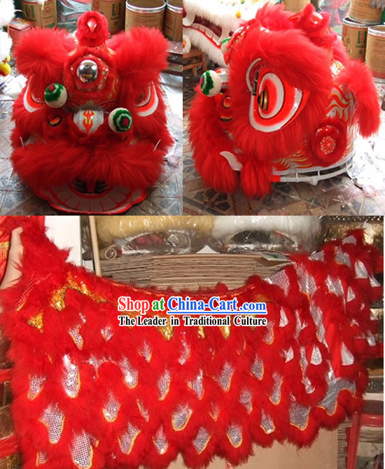 Competition and Parade Fluorescent Southern Lion Dance Head and Costume Complete Set
