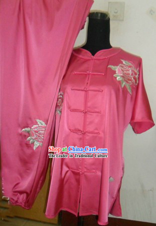 Chinese Silk Embroidered Flower Kung Fu Competition Uniform
