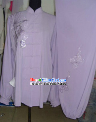 Chinese Embroidered Flower Silk Tai Chi Clothing Set