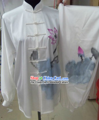 Chinese Silk Lotus Tai Chi Performance Costumes Set