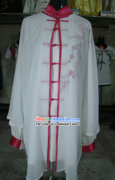 Traditional Chinese Plum Blossom Silk Wu Shu Clothing and Veil Set