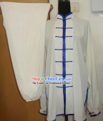 Chinese White Martial Arts Blouse and Pant
