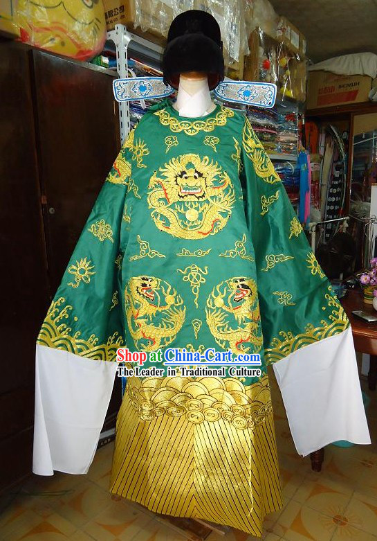 Ancient Chinese Official Zhi Ma Guan Costume and Hat Set