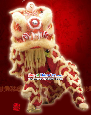 Top Red Celebration and Parade Long Wool Chinese Fut San Lion Dance Costumes Complete Set
