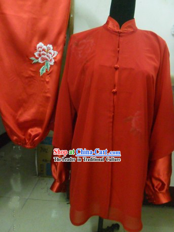 Chinese Red Silk Embroidered Flower Wushu Clothing and Veil Set