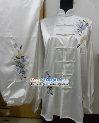 Chinese Long Sleeve Flower Silk Wushu Contest Suit