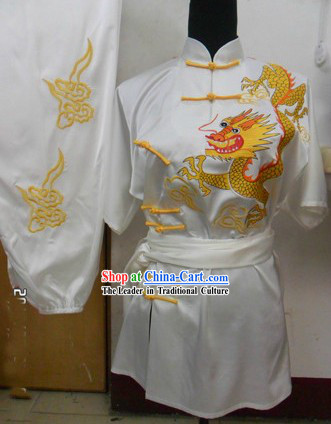 Chinese Classical Embroidered Dragon Silk Martial Arts Stage Performance Suit