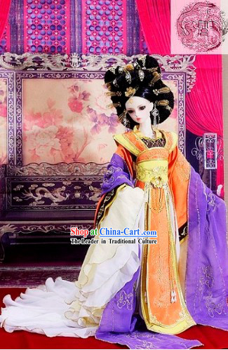 Supreme Chinese Ancient Empress Clothing and Hair Decoration Complete Set