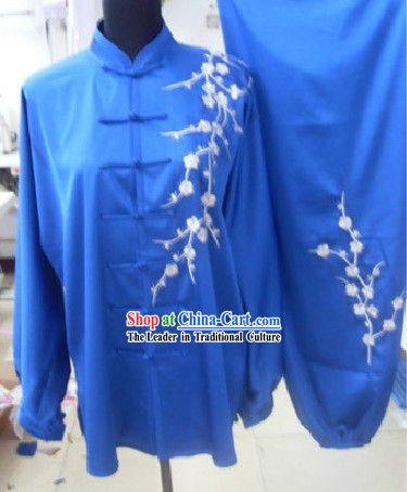 Traditional Chinese Silk Embroidered Flower Tai Chi Suit