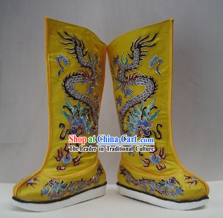 Ancient Chinese Emperor Imperial Dragon Boots