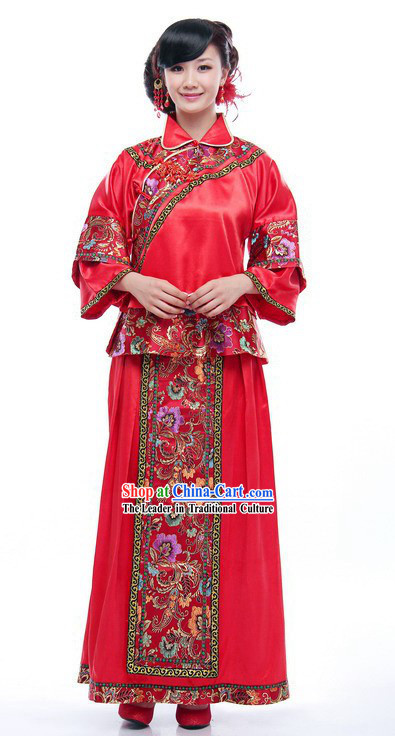 Traditional Chinese Mandarin Red Wedding Dress for Women