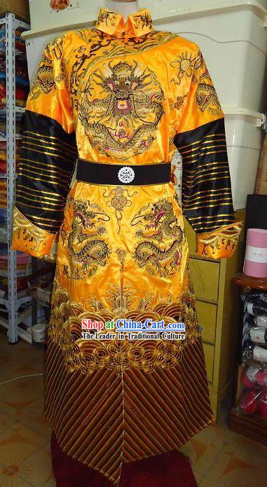 Qing Dynasty Embroidered Dragon Robe for Emperor