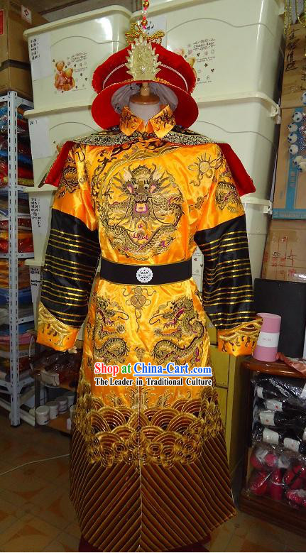 Qing Dynasty Kang Xi Emperor Costumes Complete Set