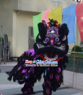 Black Long Wool FUT SAN Lion Dance Costume Complete Set