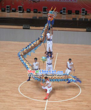 Shinning Blue and Golden Dragon Dance Costumes Complete Set for Five People