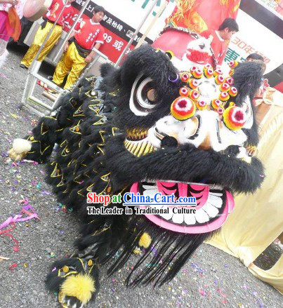 Top Cool Black Colour Lion Dance Costume Complete Set