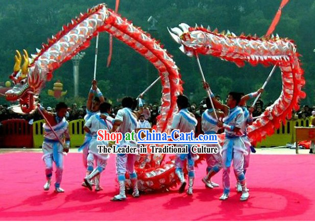 Supreme Red and Silver Net Dragon Dance Head and Costumes Complete Set