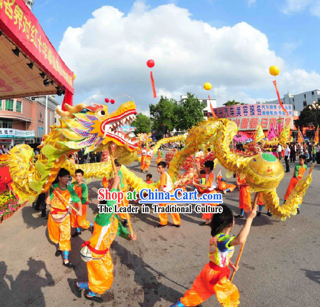 Golden Dragon Dance Costumes for Children and Youth