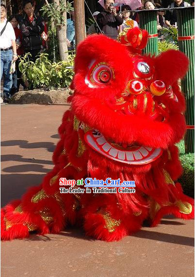 Friendly Red Hok San Happy Celebration Supreme Chinese Lion Dance Costume Complete Set